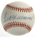 Autographs:Baseballs, Ted Williams Single Signed Baseball. Fine memento courtesy of thethe Greatest Hitter That Ever Lived. OAL (Brown) ball has...