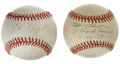 Autographs:Baseballs, Harvey Haddix and Ed Lopat Single Signed Baseballs Lot of 2. Eachof the pitchers represented here reigned on the mound dur...