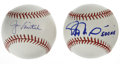 Autographs:Baseballs, Rafael Palmeiro and Jason Varitek Single Signed Baseballs. Each ofthe OML baseballs we present here has been sweet spot-si... (Total:2 Items)