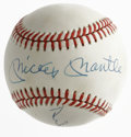 Autographs:Baseballs, Mays, Mantle & Snider Signed Baseball. Willie, Mickey and theDuke appear in perfect blue ink on an OAL (Brown) baseball. B...