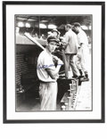 Autographs:Photos, Massive Ted Williams Signed Photograph. A young Ted Williams,paused on the dugout steps with bat in hand, has been expertl...