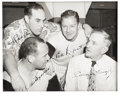 Autographs:Photos, 1951 New York Yankees Wire Photograph Signed by Four. In the midstof five straight World Series wins, New York Yankees HOF...