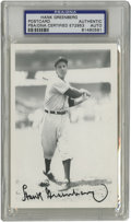 Autographs:Post Cards, Hank Greenberg Signed Post Card PSA Authentic. Detroit Tigers HOFslugger Hank Greenberg has applied a wonderful black ink ...