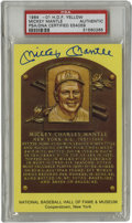Autographs:Post Cards, Mickey Mantle Signed Gold Hall of Fame Plaque PSA Authentic. Finecondition gold HOF plaque postcard has been signed in 10/...
