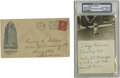 """Autographs:Post Cards, Lloyd Waner Signed Post Card PSA Authentic With Signed Envelope.The little guy with the big bat, """"Little Poison"""" Lloyd Wan..."""