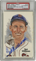 Autographs:Post Cards, Ted Williams Signed Perez-Steele Post Card PSA Authentic. TheSplendid Splinter has graced the marvelous artwork on this Pe...