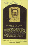 Autographs:Post Cards, Stan Musial Signed Gold Hall of Fame Plaque. The instantlyrecognizable gold Hall of Fame plaque postcard is metaphor for t...