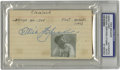 Autographs:Index Cards, Tris Speaker Signed Index Card PSA Authentic. Marvelous blue ink signature graces the index card offered here signed by Tri...