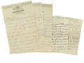 Autographs:Letters, Circa 1930s Doug Taitt Signed Handwritten Letters Lot of 3. Offeredhere are three handwritten letters courtesy of ex-major...