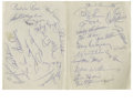 Autographs:Others, 1951 New York Giants/Brooklyn Dodgers Signed Sheet. In 1951, thecity of New York was enthralled as all three of its profes...