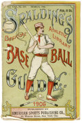 Baseball Collectibles:Publications, 1906 Spalding Baseball Guide. Spalding's annual official guide ispresented here. Some damage is evident to the cover, but ...