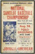 "Baseball Collectibles:Others, 1948 Babe Ruth Sandlot Baseball Championship Advertising Piece.This advertising piece, measuring 14x22"", announces the Nat..."