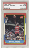 Basketball Cards:Singles (1980-Now), 1986-87 Fleer Michael Jordan #57 PSA NM-MT 8. Here we offer the coveted rookie card of perhaps the most exciting player to ...