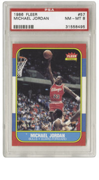 1986-87 Fleer Michael Jordan #57 PSA NM-MT 8. Here we offer the coveted rookie card of perhaps the most exciting player...