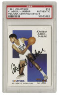 Basketball Collectibles:Others, 1991 Courtside Kareem Abdul-Jabaar #18 Signed Card PSA Authentic. This Courtside card makes note of the outstanding collegi...