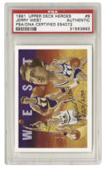 Basketball Cards:Singles (1980-Now), 1991-92 Upper Deck Jerry West Heroes #9 Signed Card PSA Authentic. From the man whose silhouette is the NBA's official logo...