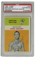 Basketball Collectibles:Others, 1961-62 Fleer Bob Cousy #10 Signed Card PSA Authentic. Offered here is an example from the appealing 1961-62 Fleer issue, f...