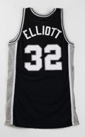 Basketball Collectibles:Uniforms, 1995-96 Sean Elliott Game Worn Jersey. Road black San Antonio Spursjersey dates from the 1995-96 season and upon examinati...