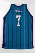 Basketball Collectibles:Uniforms, 1997-98 J.R. Reid Game Worn and Signed Jersey. J.R. Reid, the UNCstandout who was selected by the Charlotte Hornets 5th in...