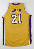Basketball Collectibles:Uniforms, 2003-04 Kareem Rush Game Worn Jersey. Here we offer a beautiful LosAngeles Lakers home yellow micro mesh jersey, game-worn...