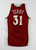 Basketball Collectibles:Uniforms, 1999-00 Jason Terry Game Worn and Signed Jersey. Here we offer ared road Atlanta Hawks gamer from one of the most thrillin...