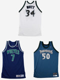 Basketball Collectibles:Uniforms, 1993-00 Minnesota Timberwolves Game Worn Jerseys Lot of 4. Fourgamers are offered here from Minnesota Timberwolves players...(Total: 4 Items)