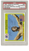 Boxing Collectibles:Autographs, 1983 Topps Olympians Muhammad Ali #92 Signed Card PSA Authentic.From the 1983 Topps issue that focused on great Olympians ...