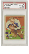 Football Cards:Singles (Pre-1950), 1935 National Chicle Bo Molenda #2 PSA NM-MT 8 (OC). It really is ashame how rare it is to come across a well-centered exa...
