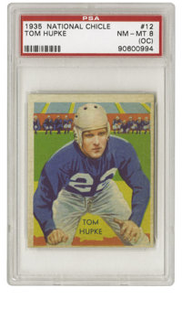 1935 National Chicle Tom Hupke #12 PSA NM-MT 8 (OC). This impressive cardboard from the 1935 National Chicle set exhibit...