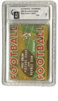 Football Collectibles:Others, 1954 Bowman Football One Cent Wax Pax GAI NM 7. Offered here is one of the most impressive wax packs in the way of visual a...