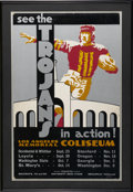 """Football Collectibles:Others, 1933 USC Football Schedule Poster. Beautifully rendered 14x22"""" poster depicts a player clad in USC colors dwarfing LA's Col..."""