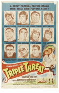 """Football Collectibles:Others, 1948 """"Triple Threat"""" Movie Poster. The 1948 film Triple Threat is a story of young love, mired in the male suitor's att..."""