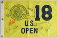 Golf Collectibles:Autographs, US Open Flag Signed by Arnold Palmer, Jack Nicklaus, and Others.Here we offer a pin flag from the 18th hole at the US Open...