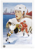 """Hockey Collectibles:Others, Pavel Bure Signed Lithograph. In this special print based on thepainting by acclaimed artist Vladimir Monakhov entitled """"R..."""