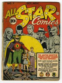 All Star Comics #7 (DC, 1941) Condition: FR/GD. Batman, Superman, and Flash cameos. Last Hour Man in this title. Doiby D...