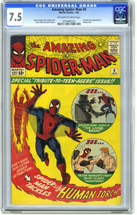 The Amazing Spider-Man #8 (Marvel, 1964) CGC VF- 7.5 Off-white to white pages. Featuring Spidey vs. the Living Brain and...