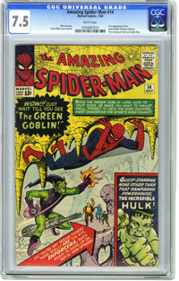 The Amazing Spider-Man #14 (Marvel, 1964) CGC VF- 7.5 White pages. Here's the first appearance of the Green Goblin (Norm...