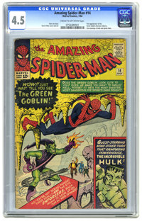 The Amazing Spider-Man #14 (Marvel, 1964) CGC VG+ 4.5 Cream to off-white pages. First appearance of the Green Goblin (No...