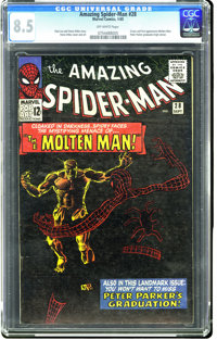 The Amazing Spider-Man #28 (Marvel, 1965) CGC VF+ 8.5 Off-white pages. Origin and first appearance of the Molten Man. St...