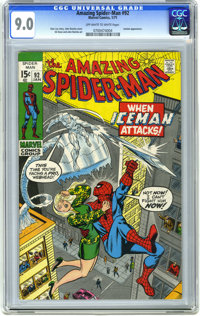 The Amazing Spider-Man #92 (Marvel, 1971) CGC VF/NM 9.0 Off-white to white pages. Iceman appearance. John Romita Sr. cov...