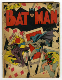 Batman #11 (DC, 1942) Condition: GD-. Featuring a classic Joker cover (third cover appearance) by Fred Ray and Jerry Rob...