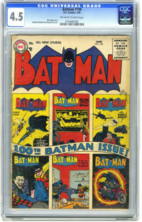 Batman #100 (DC, 1956) CGC VG+ 4.5 Off-white to white pages. Features all-new stories and a cover collage of the covers...