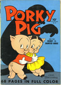 "Golden Age (1938-1955):Cartoon Character, Four Color #16 Porky Pig (Dell, 1942) Condition: FN. ""Secret of theHaunted House"" Story. Overstreet 2006 FN 6.0 value = $22..."