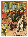 Golden Age (1938-1955):War, Military Comics #15 (Quality, 1943) Condition: VG. Classic coverwith Blackhawk dishing out some punishment to the Axis powe...