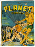 Golden Age (1938-1955):Science Fiction, Planet Comics #12 (Fiction House, 1941) Condition: GD-. Coverartist John Celardo's only cover for Fiction House's headline ...