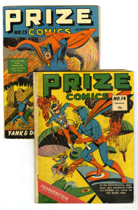 Prize Comics #14 and 15 Group (Prize, 1941). Lot of two Prize Comics contains #14 (GD -- War cover) and 15 (VG+). Overst...