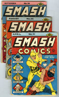 Golden Age (1938-1955):Superhero, Smash Comics Group (Quality, 1941). Group of four Smash Comics consists of #21 (GD), 25 (GD -- origin and first appearan... (Total: 4 Comic Books)