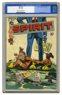 The Spirit #15 (Quality, 1948) CGC VF+ 8.5. Will Eisner conveys his sense of humor on this cover, with the masked hero s...