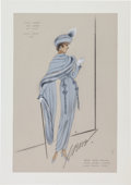 "Movie/TV Memorabilia:Costumes, A Judy Garland Costume Design Sketch by Virginia Fisher / Irene from ""Easter Parade.""..."