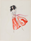 "Movie/TV Memorabilia:Costumes, A Jennifer Jones Costume Design Sketch by Walter Plunkett from""Duel in the Sun.""..."